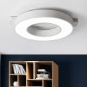 Simple Concise Donut Flushmount Metallic Surface Mount LED Light in White for Study Room
