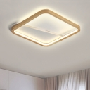 Wooden Ultra Thin Flush Mount with Square Ring Simple Concise LED Lighting Fixture in Neutral