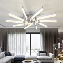 10 Lights Matchsticks Ceiling Lamp with Acrylic Shade Modern Fashion LED Semi Flush Light in Silver