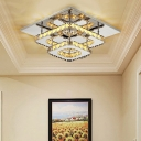 Contemporary 2 Tiers Semi Flush Light with Square Ring Amber Crystal LED Ceiling Lamp