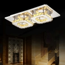 Amber Crystal Square Semi Flushmount Contemporary LED Ceiling Light for Restaurant Hallway