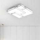 White Blocks Flush Light Fixture Contemporary LED Indoor Lighting Fixture with Acrylic Shade