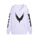 American Internet Personality Letter Eagle Print Long Sleeve Basic Fitted Unisex Hoodie