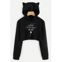 LOVE YOURSELF Letter Long Sleeve Ear Design Black Cropped Hoodie