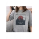ADVENTURE AWAITS Letter Forest Printed Crewneck Loose Casual T-Shirt