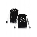 Letter Sad Face Printed Rib Collar Long Sleeve Colorblock Button Down Baseball Jacket