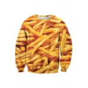 Cool 3D French Fries Round Neck Long Sleeve Casual Loose Pullover Yellow Sweatshirt
