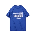 Letter HARBOUR SUNSET Summer Hip Hop Fashion Loose Fit Graphic Tee