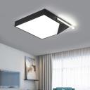 Acrylic Geometric Lampshade Flush Mount Post Modern LED Ceiling Light in Black for Study Room