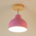 Rotatable 1 Head Gourd Indoor Lighting Minimalist Modern Semi Flushmount with Metal Shade in Chrome Finish