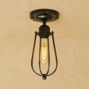 Gourd Metal Frame Ceiling Lamp Vintage Simple 1 Light Surface Mount Ceiling Light in Black for Staircase