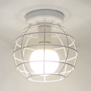 White Global Semi Flush Mount Modern Fashion Metal Frame Single Light Ceiling Lamp for Coffee Shop