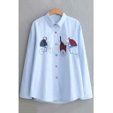 Cute Cartoon Bike Embroidery Basic Long Sleeve Loose Fit Button Down Shirt