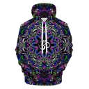 Purple Cool Unique 3D Floral Galaxy Printed Long Sleeve Casual Sport Drawstring Hoodie