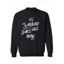 Crown Letter JUGHEAD JONES WOZHERE Print Mock Neck Long Sleeve Black Casual Sweatshirt