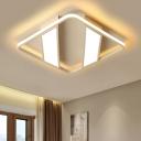 Contemporary Strips Flush Light with Squared Frame Aluminum LED Flush Mount Light in White