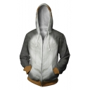 Popular 3D Star Wars Bird Printed Grey Loose Fit Zip Up Drawstring Hoodie