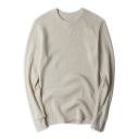 Basic Simple Plain Round Neck Long Sleeve Loose Fit Cotton T-Shirt for Men