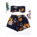 Summer Stylish Floral Printed Knotted Bandeau Top Elastic Waist Shorts Navy Chiffon Set
