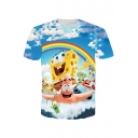 3D Cute Cartoon Printed Blue Short Sleeve T-Shirt