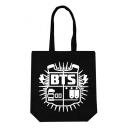 Kpop Logo Letter Printed Portable Cotton Canvas Hand Bag Shoulder Bag 40*30cm