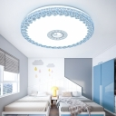 Drum Ceiling Lamp with Peacock Modern Chic Acrylic LED Flush Ceiling Light in Blue/Gold/White