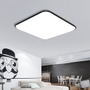 Ultra Thin Square Flush Light Nordic Style Acrylic LED Flush Mount Lighting in Black