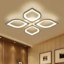 4/6 Heads Petal Semi Flush Light Monochromatic LED Ceiling Light with White Metal Canopy