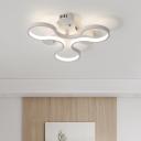 Curved Semi Flush Mount Light Modern Fashion Art Deco Acrylic LED Ceiling Fixture in White