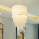 White Drum Shade Chandelier Light Modernism Shelly 4 Lights Suspension Light for Coffee Shop