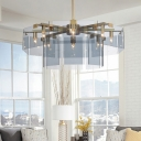 Dusty Blue Geometric Hanging Chandelier Post Modern Acrylic 6/8 Lights Suspended Light