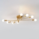 Open Bulb Linear Semi Flushmount Minimalist Metallic 6/8/10 Heads Ceiling Fixture in Gold