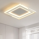 White Square Ceiling Fixture with Acrylic Shade Nordic Style Surface Mount LED Light for Hotel Hall