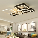 Multi-Layer Lighting Fixture with Geometric Pattern Contemporary Metal LED Flushmount in Neutral