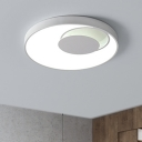 Simplicity Round LED Flush Mount with Crescent Shade Acrylic Ceiling Fixture in White