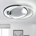 Minimalist Double Ring Flush Light Fixture Metallic LED Ceiling Lamp in Warm/White for Office