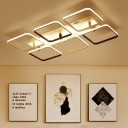 Ultrathin Square Semi Flushmount Nordic Style Acrylic 2/4/6/9 Heads LED Ceiling Light in Warm/White