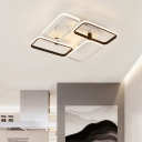 4 Rectangle Frame Ceiling Fixture Simplicity Acrylic Shade LED Semi Flush Mount in Black and White