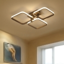 Brown Border LED Semi Flush Light Modern Fashion Metallic Ceiling Fixture with 3/5 Square Ring
