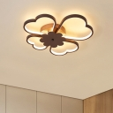 Modernism Clover LED Flush Light Fixture Aluminum Ceiling Light in Brown for Coffee Shop