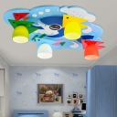 Fish Design 4 Lights Flush Mount with Glass Shade Blue/Pink Ceiling Fixture for Boys Girls Room