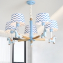 Blue Zig Zag Fabric Shade Chandelier with Cartoon Horse 5 Lights Hanging Lamp for Nursing Room