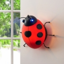 Ladybug 1 Bulb Wall Mount Fixture Green/Red/Yellow Glass Sconce Light for Baby Kids Room