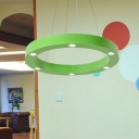 Blue/Green Circle LED Flush Light Metallic 6-LED Ceiling Fixture for Kindergarten