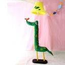 Green Dinosaur Floor Lamp Fabric Single Light Decorative Standing Light for Kindergarten