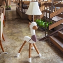 White Bell Shade Floor Lamp Fabric Shade Single Head Floor Light with Lovely Sheep for Bedside