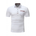 Fashion Small Check Patched Pocket Short Sleeve Men's Fitted Polo Shirt