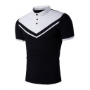 New Stylish Colorblocked Chevron Print Short Sleeve Stretch Slim Fit Polo for Men