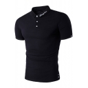 Simple Letter Print Collar Short Sleeve Slim Fitted Polo Shirt for Men