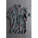 Men's Summer Retro Plants Floral Printed Grey Casual Polo Shirt
